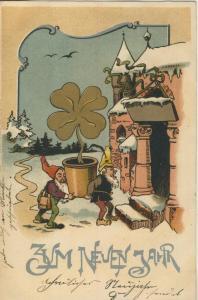 Zum Neuen Jahr v. 1903  Zwerge bringen ein Goldenes Kleeblatt  (57138)