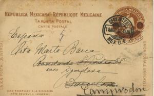 Serv. Inter / Mexiko v. 1902  Aufgedruckte Marke mit Stempel  (57142)