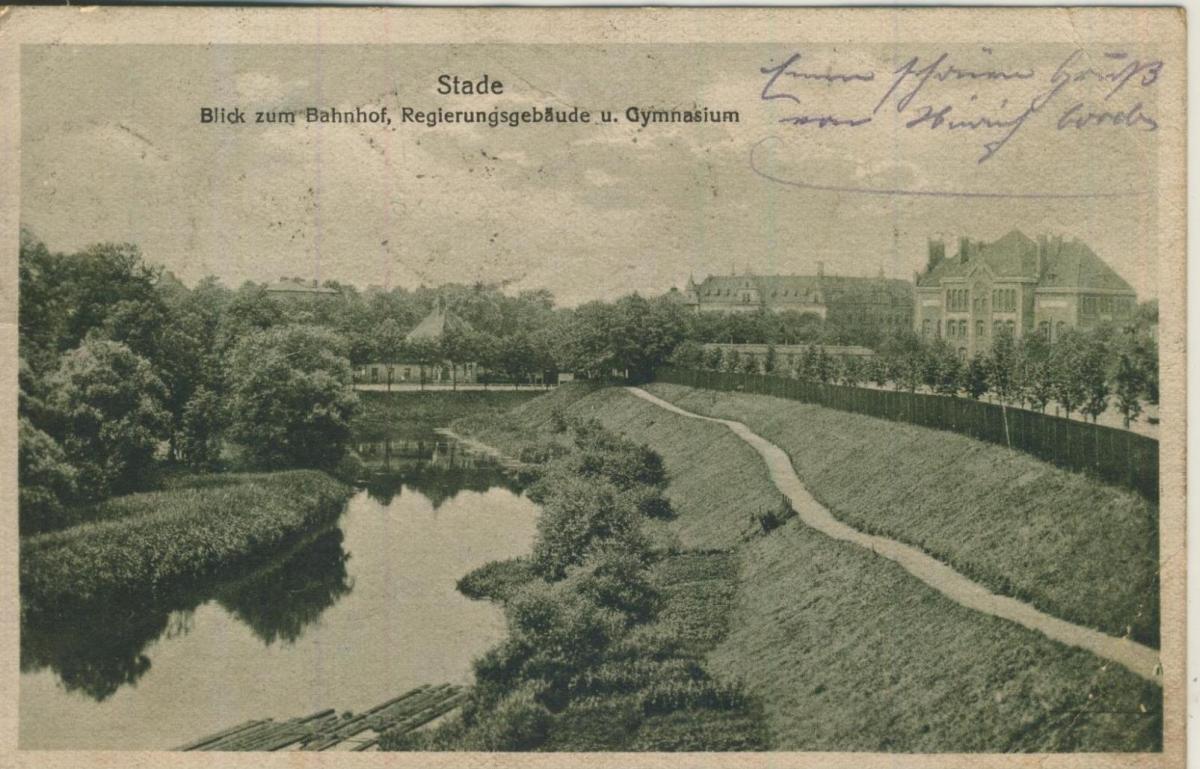 Stade v. 1923  Blick zum Bahnhof,Regierungsgebäude und Gymnasium  (57221) 0