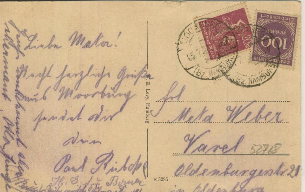 Moorburg v. 1923  Cafe Bauer, Inh. Heinr. Bauer  (57228) 1