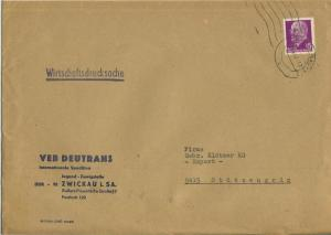 Zwickau v. 1967  Briefumschlag - VEB Deutrans Internationale Spedition,Äußere Plauensche Str. 17  (51137)