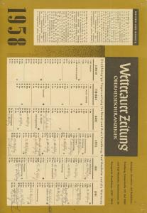 Wettrauer Zeitung v. 1958  Kalenderblatt  (51152)
