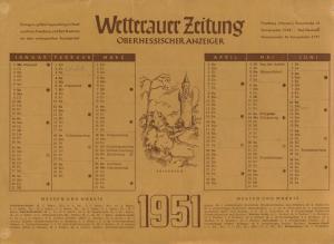 Wettrauer Zeitung v. 1951  Kalenderblatt  (51153)