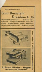 Zeitungs-Werbung v.1941  A. Erich Köster,Hagen,Maschienen und Apparatebau  (51163)