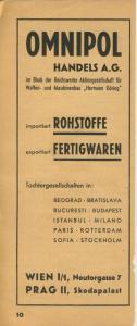 Zeitungs-Werbung v.1941  Omnipol Handels A.G - Waffen und Maschienebau