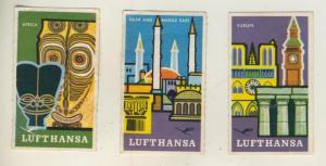 Lufthansa - 3 Werbemarken,Europe,Africa,Near and Middle East  (51310)