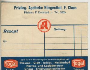 Klingenberg v. 1941  Privileg. Apotheke, F. Claus, Pächter F. Domhardt (51316)