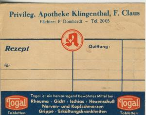Klingenberg v. 1941  Privileg. Apotheke, F. Claus, Pächter F. Domhardt (51317)