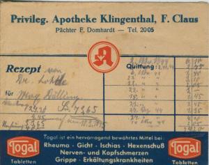 Klingenberg v. 1944  Privileg. Apotheke, F. Claus, Pächter F. Domhardt (51317-1)