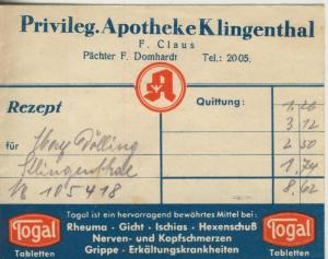 Klingenberg v. 1944  Privileg. Apotheke, F. Claus, Pächter F. Domhardt (51317-2)