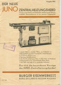 Burg (Dillkreis) / Hessen v. 1932  Juno Zentralheizungsherd  (51449)