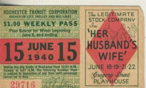 Rochester City v. 1940  Weekly Pass 15 June 1940 Nr. 29716 -- Gregory Street, Playhouse  (51664)