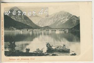 Pertisau v.1908 Dorfansicht mit einer Person im Boot auf dem Achensee (8575)