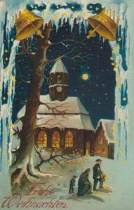 Weihnachten v. 1914  Winterlandschaft mit Familie und Kirche  (53075)