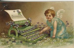 Engel v. 1914  Engel an der Schreibmaschine  (53082)