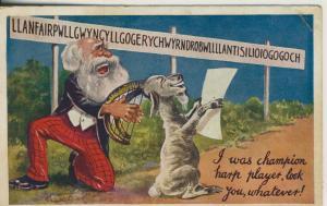 Scherzkarte v. 1937  Ein alter Mann macht Musik an der Hörnern des Ziegenbocks der singt dazu !!  (53085)
