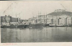 Napoli v. 1915  Del Mare -- Hafen und Teil-Stadt-Ansicht  (53735)-1