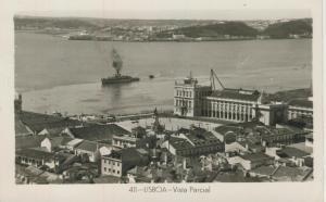 Lisboa v. 1957  Vista Parcial mit Kriegsschiff  (53809)