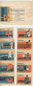 Reichsbahn v. 1964 DDR-Zündholz-Etiketten -- 1 Serie = 10 Stück - siehe Foto!! (53981-040)