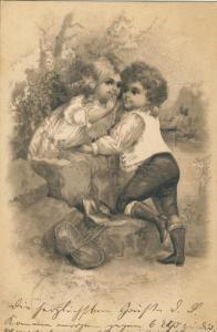 Kinderkarte v. 1902  Junge und Mädchen  -- siehe Foto !! (53981-162)