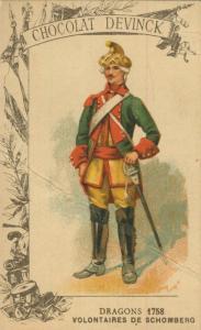 Chocolat Devinck -- Dragons 1758 -- Volontaires de Schomberg  (54099-119)