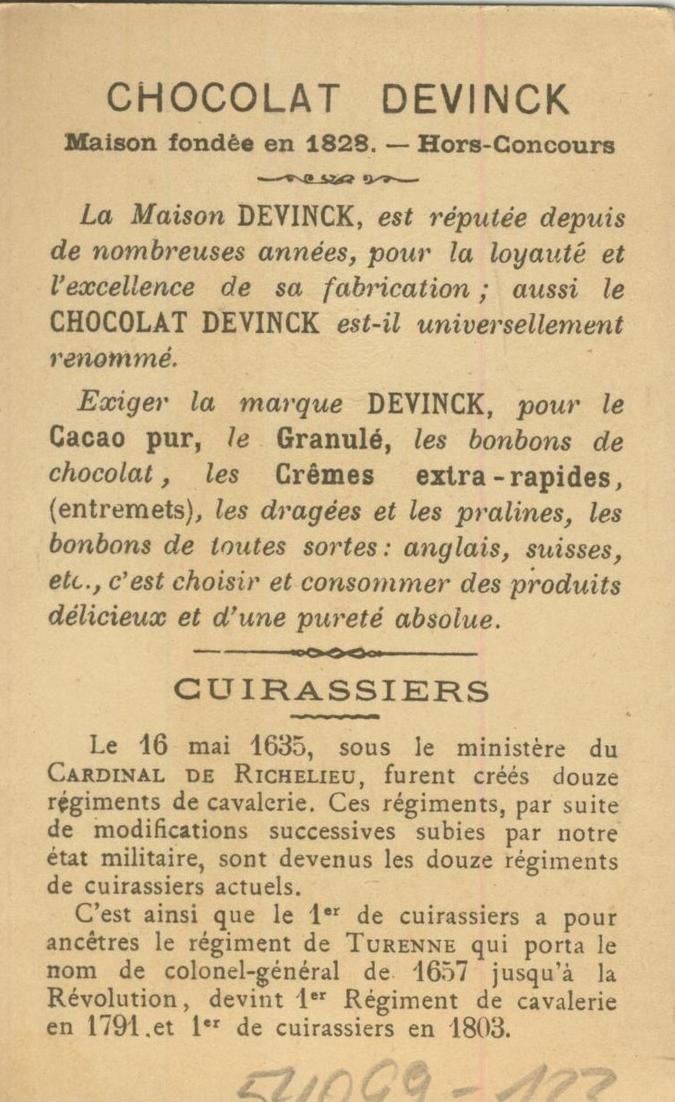Chocolat Devinck -- Cuirassiers 1650  (54099-123) 1