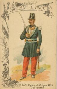 Chocolat Devinck -- Inf. legere d`Afrique 1833 -- Lieutenant  (54099-136)