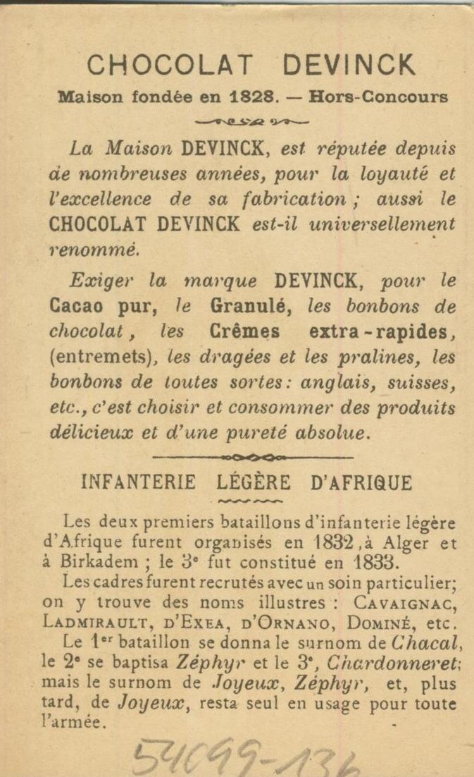 Chocolat Devinck -- Inf. legere d`Afrique 1833 -- Lieutenant  (54099-136) 1