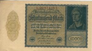10.000 Mark Reichsbanknote vom 19.1.1922  (54099-145)