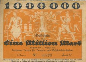 Städte Großgeldscheine - Banknoten während der Inflationszeit v.1923 Bochum 1 Million