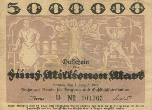 Städte Großgeldscheine - Banknoten während der Inflationszeit v.1923 Bochum 5 Millionen  (40008)