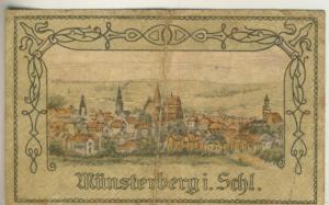 Städt-Münsterberg in Schlesien v. 19.4.1921  Gutschein über 50 Pfennig - Städtische Sparkasse  (40010)