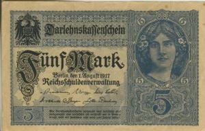Berlin - Darlehnskassenschein v. 1. August 1917  Fünf Mark  (40011)