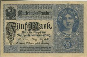 Berlin - Darlehnskassenschein v. 1. August 1917  Fünf Mark  (40012)