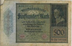 Berlin - Reichsbanknote v. 27 März 1922  Fünfhundert Mark  (40014)