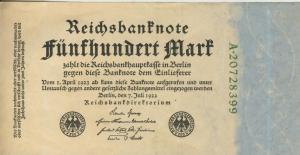 Berlin - Reichsbanknote v. 7. Juli 1922  Fünfhundert Mark  (40015)