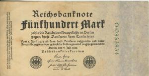Berlin - Reichsbanknote v. 7. Juli 1922  Fünfhundert Mark  (40016)