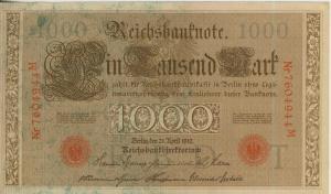 Berlin - Reichsbanknote -- 21. April 1910 1000 Mark  (40019)