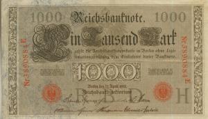 Berlin - Reichsbanknote -- 21. April 1910 1000 Mark  (40020)