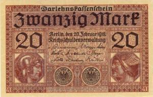 Banknote -  v. 1918  Darlehnskassenschein 20 Mark (999-3)