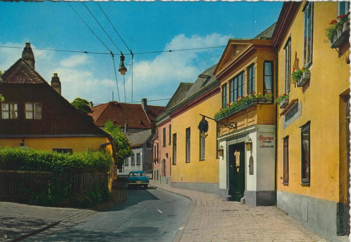 Grinzing v. 1969  Strassensicht mit Weingeschäft  (56809) 0