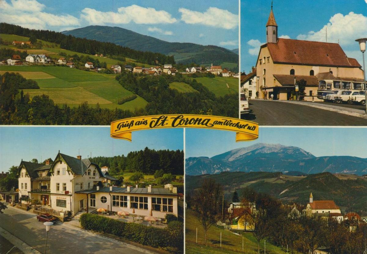 St. Carona am Wechsel v. 1968  4 Ansichten u.a. Hotel Strobl-Trauthof  (56842) 0