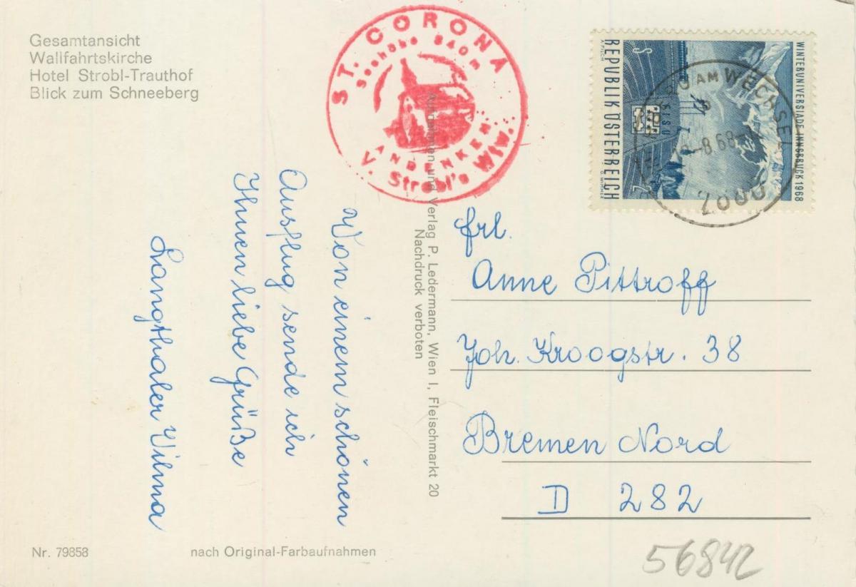 St. Carona am Wechsel v. 1968  4 Ansichten u.a. Hotel Strobl-Trauthof  (56842) 1