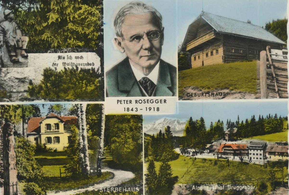 Alpengasthof Bruggraber v. 1968  5 Ansichten von Peter Rosegger 1843-1918  (56856) 0
