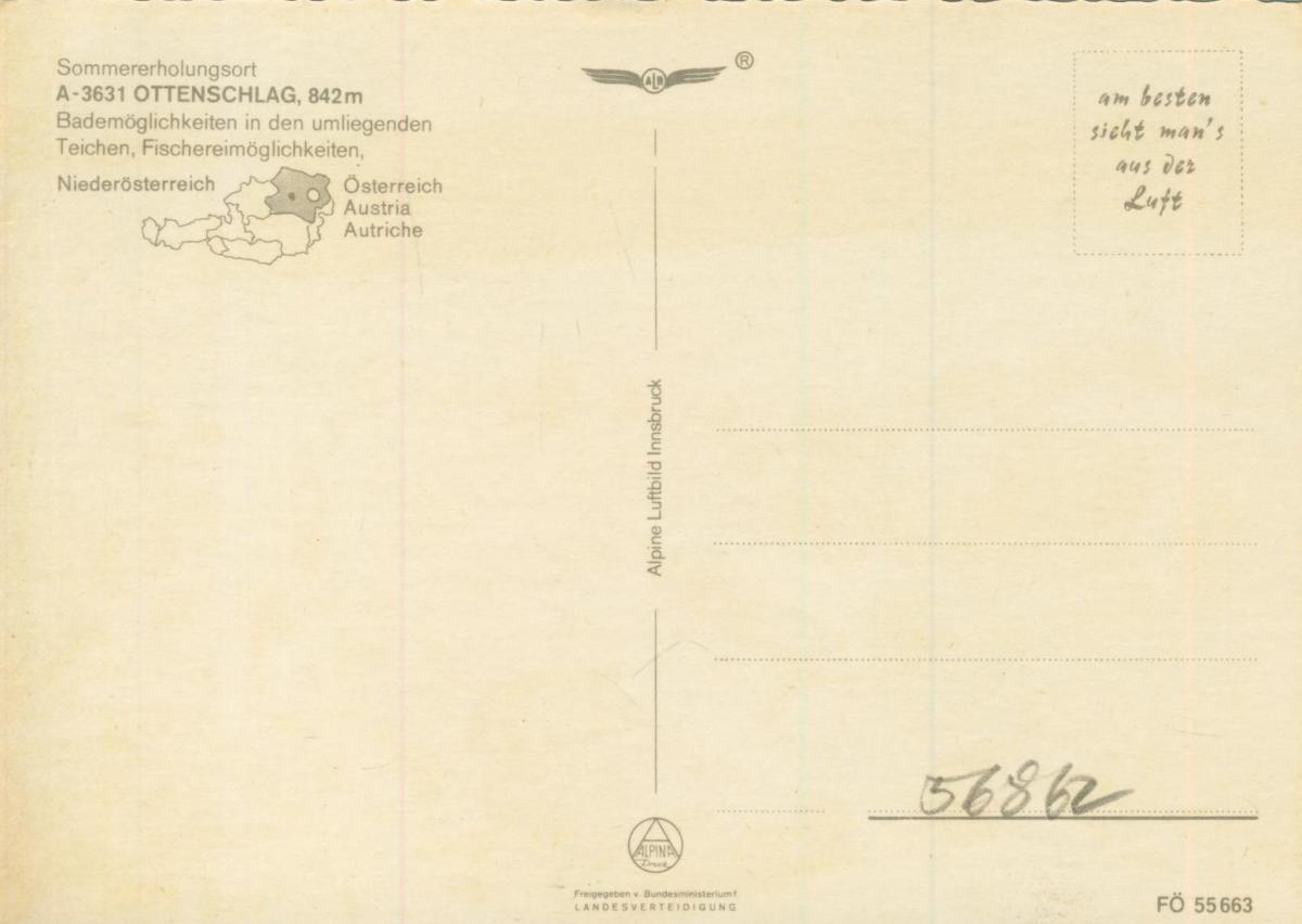 Ottenschlag v. 1972  Luftaufnahme - Dorfansicht  (56862) 1