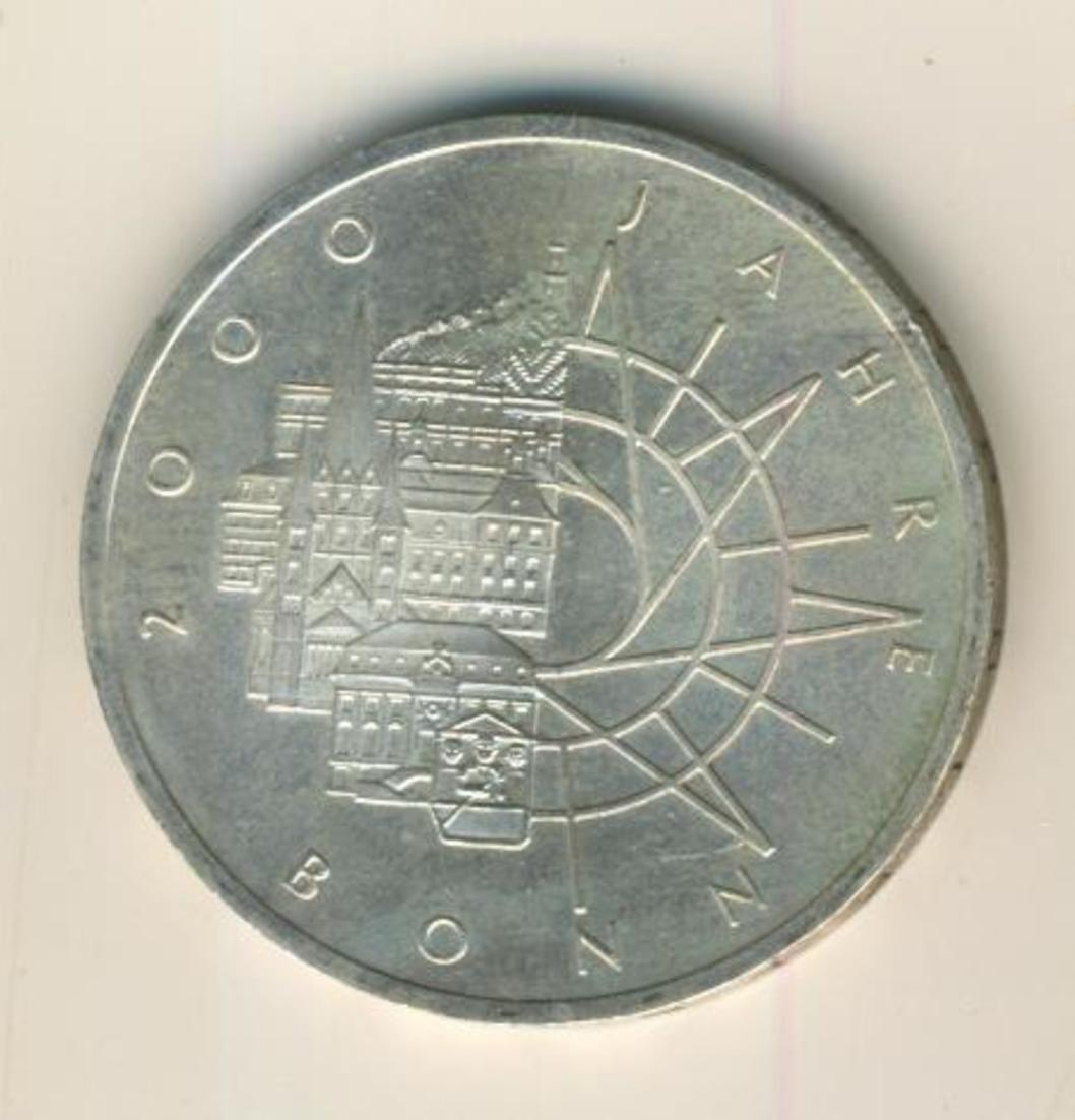 10 Mark 2000 Jahre Bonn, D, MÜNCHEN, 1989, Silber  (04) 0