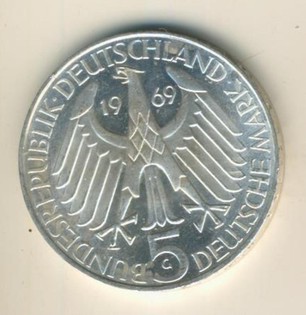5 Deutsche Mark 1969 G Theodor Fontane, Silber  (11) 1