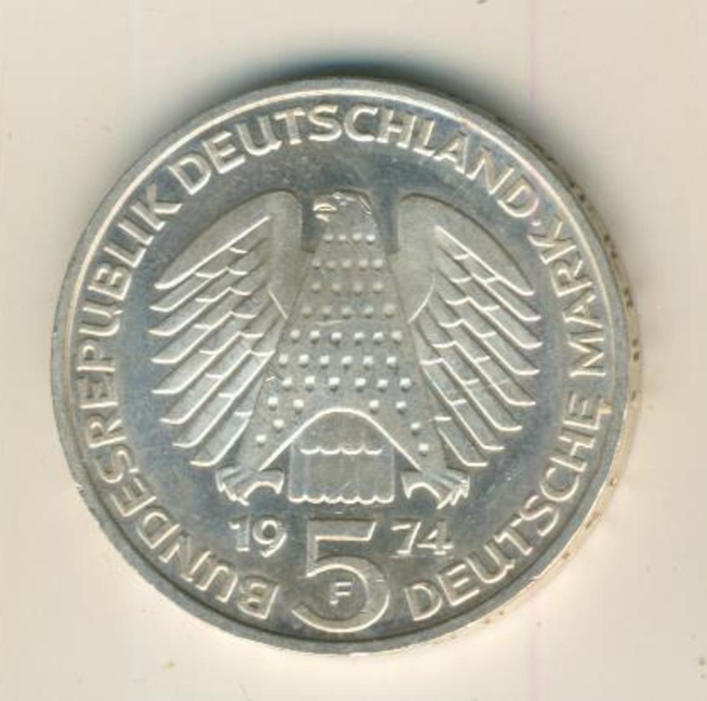 5 Mark Gedenkmünze, 1974 F,