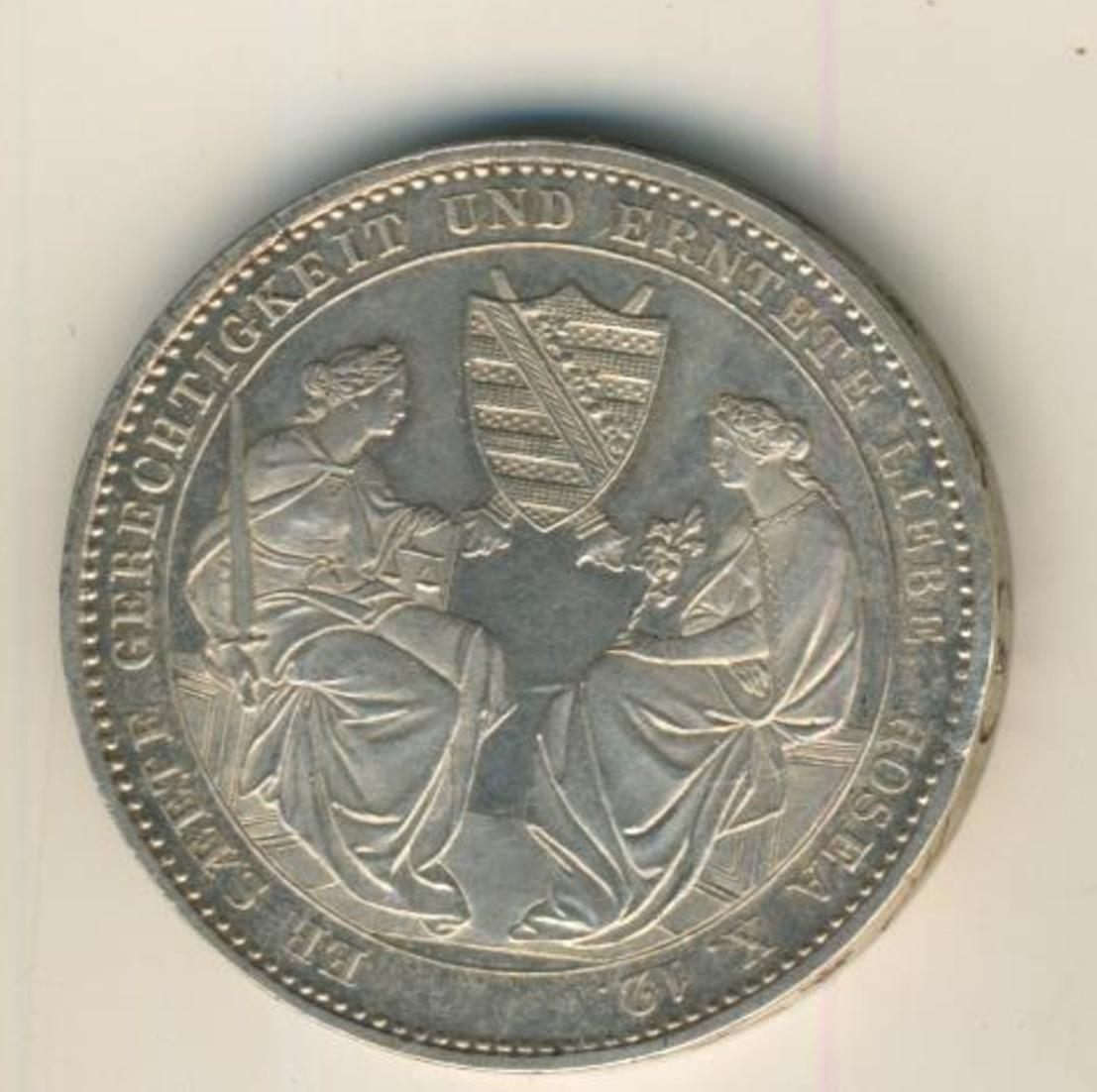 Sachsen 1854 Ausbeutetaler Tod des Königs Friedrich August II., Silber (20) 0