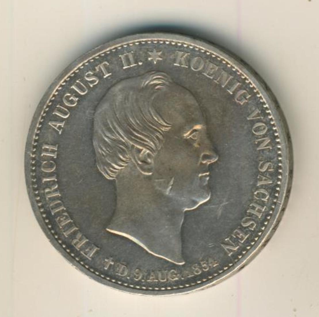 Sachsen 1854 Ausbeutetaler Tod des Königs Friedrich August II., Silber (20) 1